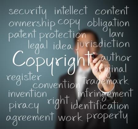 ビジネスの男は、著作権のコンセプトを書き込む 写真素材