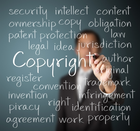 trademark: business man writing copyright concept Stock Photo