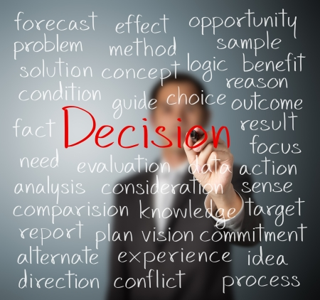business man writing decision concept