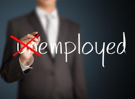 Geschäftsmann Änderung Arbeitslosen auf Arbeitnehmer Lizenzfreie Bilder