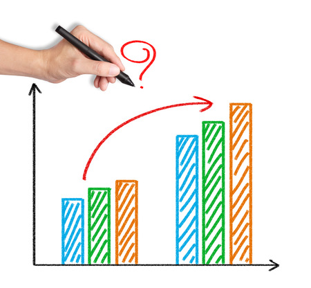 business hand writing question on improved progress graph photo