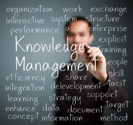 business man writing knowledge management concept Standard-Bild