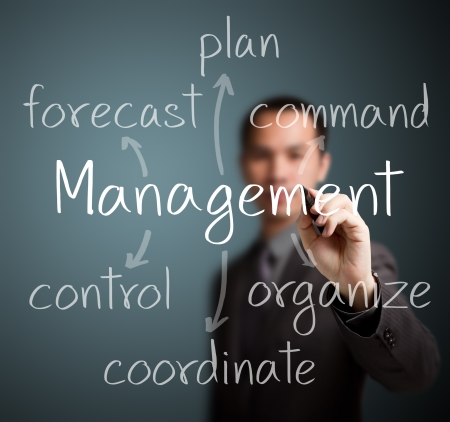 talent management: business man writing management skill and responsibility Stock Photo