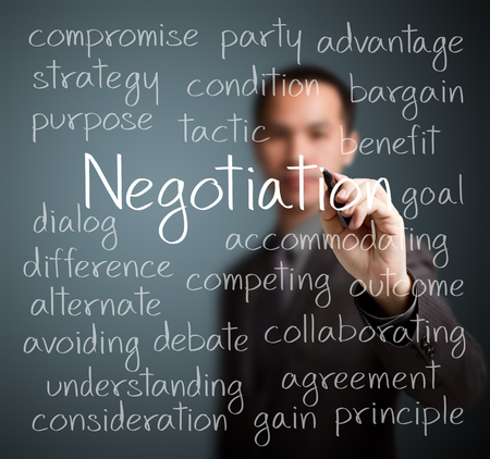 negotiation business: business man writing negotiation concept