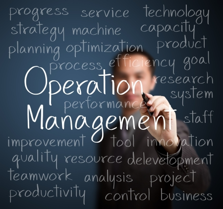business man writing operation management concept