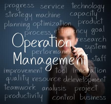 l'écriture de l'homme d'affaires concept de gestion de l'exploitation