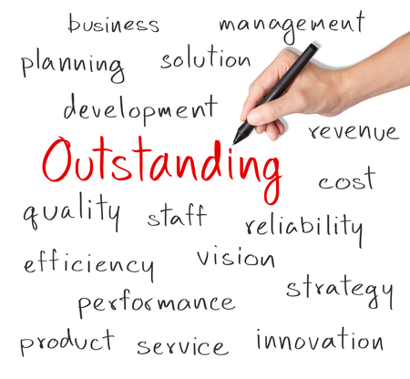 business hand writing outstanding concept Stock Photo