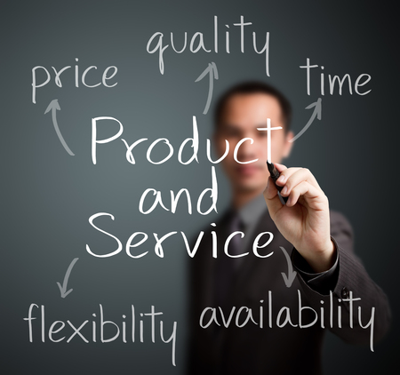 business man writing product and service attribute photo