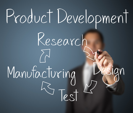 business products: business man writing product development concept