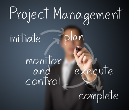 business man writing project managemant workflow photo