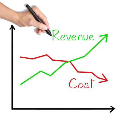 business hand writing revenue and cost comparing graph