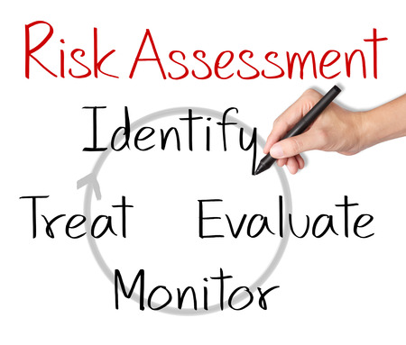 business man writing concept of risk assessment