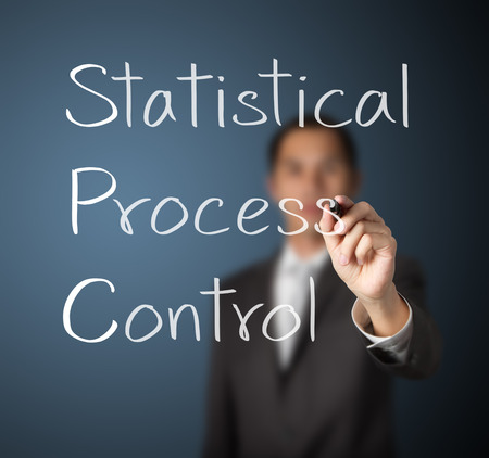 process industry: business man writing statistical process control  SPC