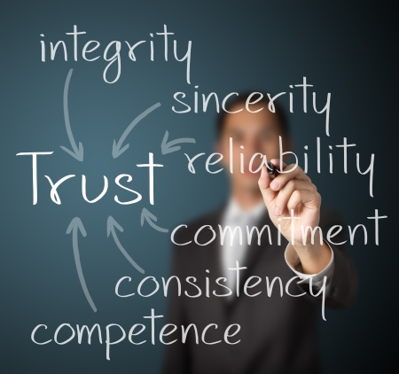 consistency: business man writing trust building concept