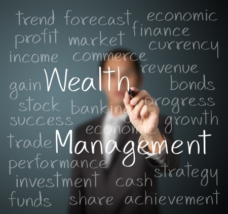 wealth: business man writing wealth management concept