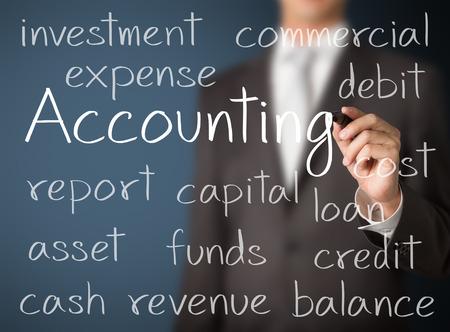 会計上の概念を書くビジネス男