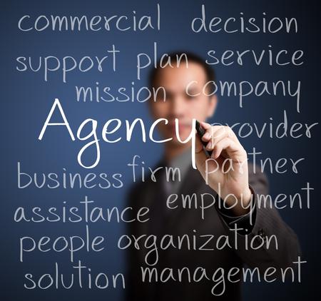 concept de l'agence de l'écriture de l'homme d'affaires