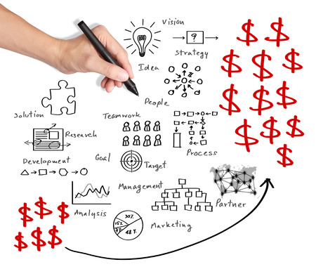 business hand writing profit business process Stock Photo