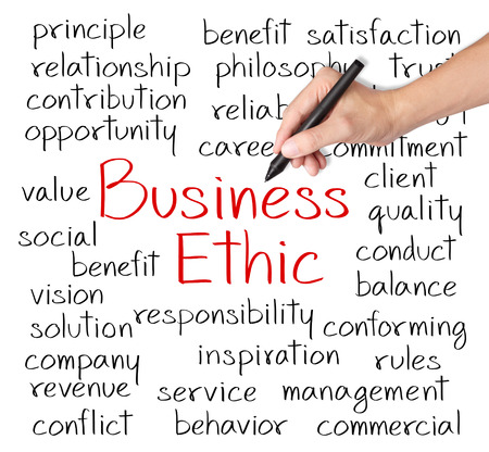 ethic: business man writing business ethic concept