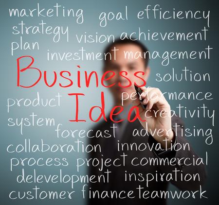 ビジネス男のビジネス アイデアのコンセプトの書き込み
