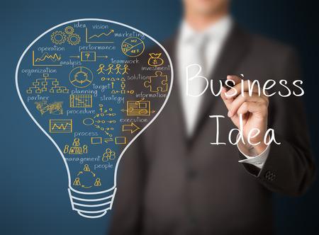 ビジネスマン書くビジネス アイデアの電球