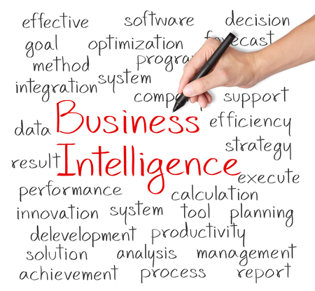 Notion de business intelligence de l'écriture de la main d'affaires Banque d'images - 26051157