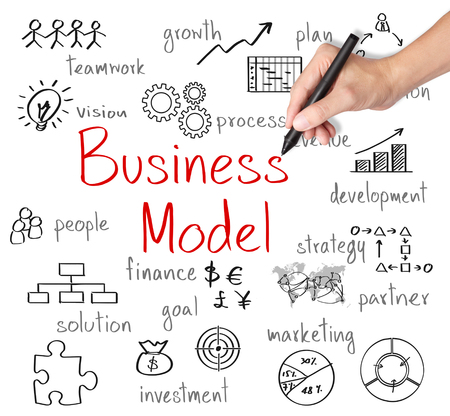 business model: business hand writing business model concept