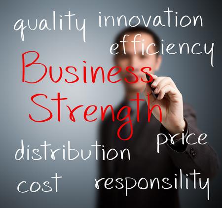 businessman writing business strength concept photo