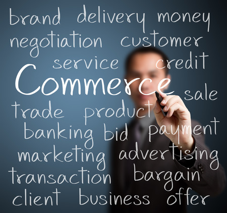 commerce: business man writing concept of commerce