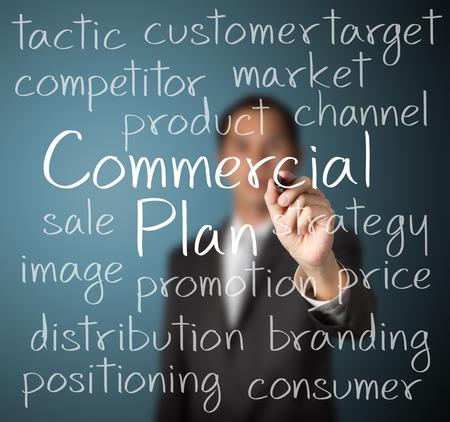商業計画概念を書くビジネス男 写真素材