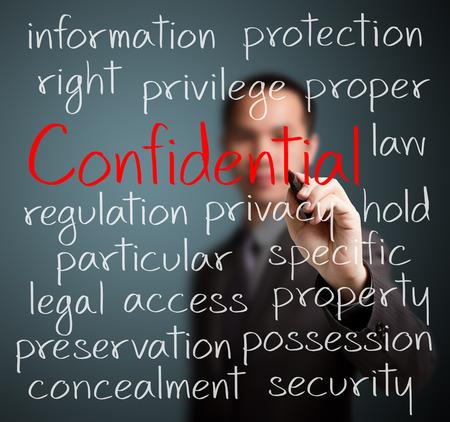 Homme d'affaires écrit concept de confidentialité Banque d'images - 26052566