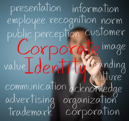 コーポレート ・ アイデンティティ概念を書くビジネス男