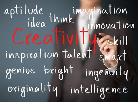 創造性の概念を書くビジネス男