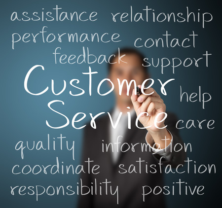 customer care: business man writing customer service concept