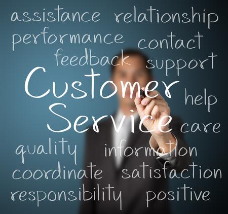concept: hombre de negocios por escrito concepto de servicio al cliente