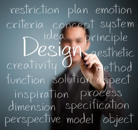 デザインのコンセプトを書くビジネス男