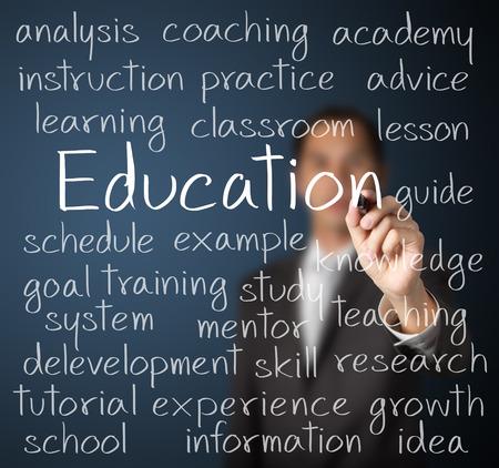 教育の概念を書くビジネス男