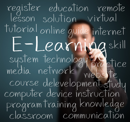 learning: businness man writing e-learning concept Stock Photo