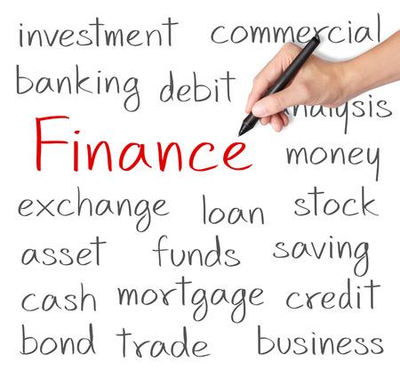 Main affaires et la finance écrit notion Banque d'images - 26052580