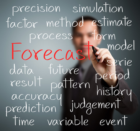 business man writing forecast concept
