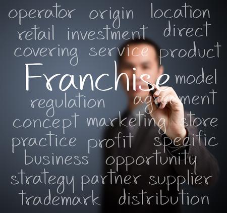 franchise: business man writing franchise concept