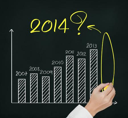 ビジネス手書きの質問約 2014年グラフ 写真素材