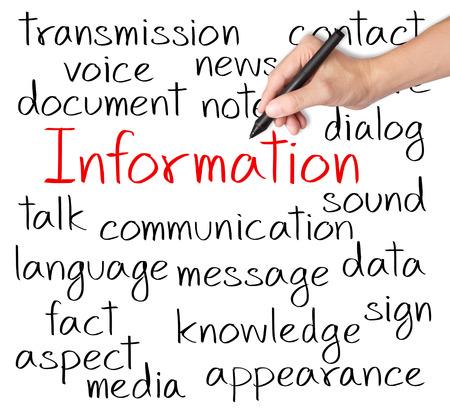 Informations par écrit de la main de concept d'entreprise Banque d'images - 26052543
