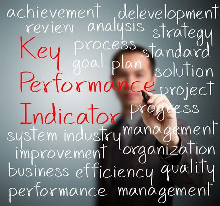 Homme d'affaires écrit performances concept clé indicateur de KPI Banque d'images - 26052546