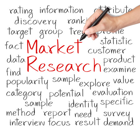 business hand writing market research concept photo