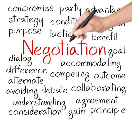 ビジネス手書きの交渉の概念