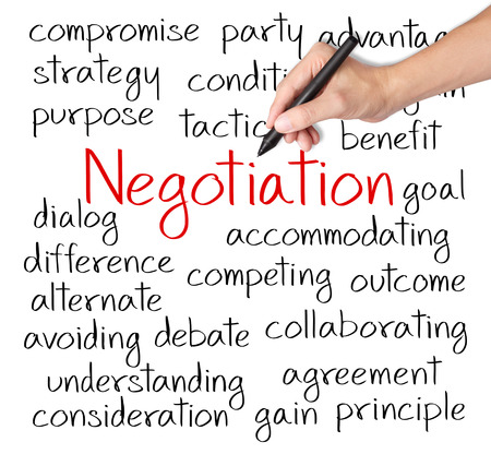 business hand writing negotiation concept photo