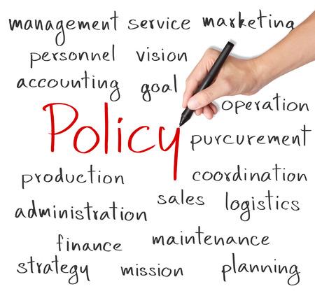 Concept de la politique de l'écriture de la main d'affaires Banque d'images - 26051177