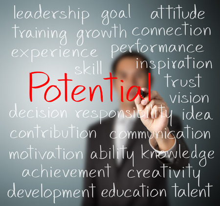 talent management: business man writing potential concept