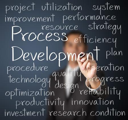 プロセス開発コンセプトを書くビジネス男 写真素材